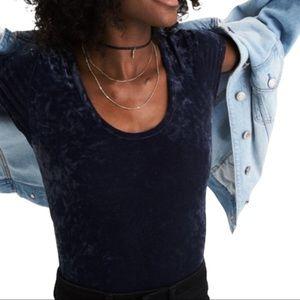 American Eagle Crushed Blue Gray Velvet Bodysuit